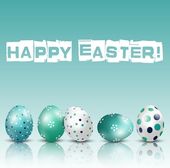Szczęśliwy Wielkanocny tło z barwionymi Easter jajkami