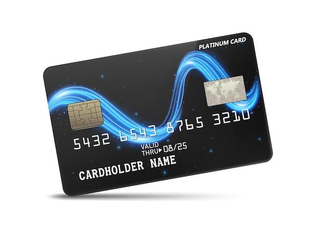 Szczegółowa błyszcząca platynowa karta kredytowa z falistą dekoracją w neonowym świetle