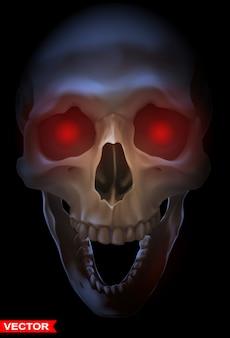 Szczegółowa grafika fotorealistyczna ludzka czaszka