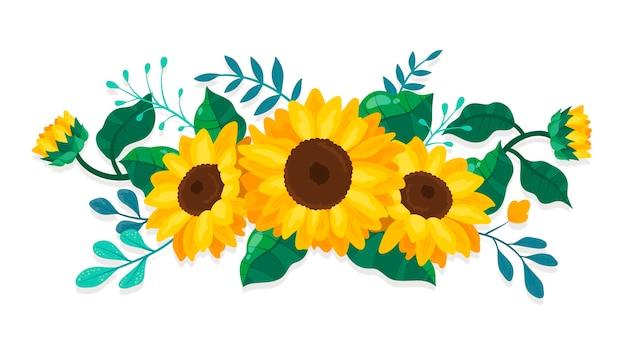 Szczegółowa granica słonecznika z zielonymi liśćmi