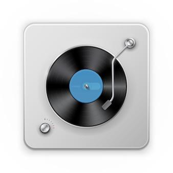 Szczegółowa ikona retro gramofonu vinil