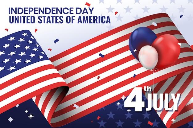 Szczegółowa Ilustracja 4 Lipca - Dzień Niepodległości Darmowych Wektorów