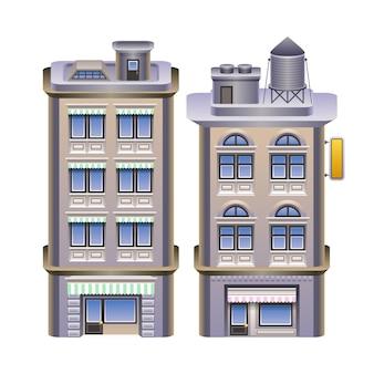 Szczegółowa ilustracja budynków.