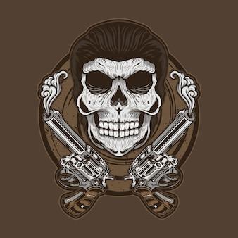Szczegółowa ilustracja czaszki gangstera z bronią