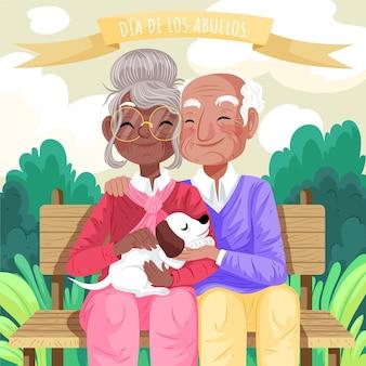 Szczegółowa ilustracja dia de los abuelos
