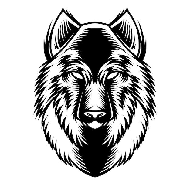 Szczegółowa ilustracja głowy wilka do projektowania koszuli