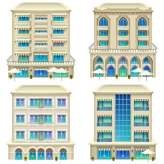 Szczegółowa ilustracja ikon hotelu.