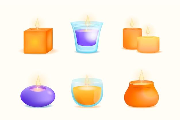 Szczegółowa ilustracja kolekcji świec zapachowych