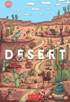 Szczegółowa ilustracja kolorowy wektor. dzikie życie na pustyni ze zwierzętami, ptakami i roślinami