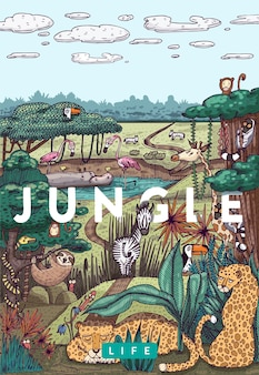 Szczegółowa ilustracja kolorowy wektor. dzikie życie w dżungli z różnymi zwierzętami, ptakami i roślinami