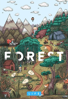 Szczegółowa ilustracja kolorowy wektor. sekretne życie w bajkowym lesie ze zwierzętami, ptakami, roślinami i fantastycznymi stworzeniami