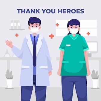 Szczegółowa ilustracja lekarzy i pielęgniarek