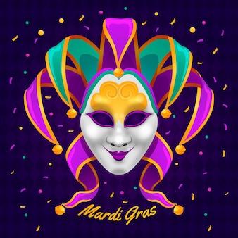 Szczegółowa ilustracja mardi gras z maską
