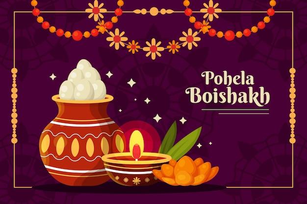 Szczegółowa ilustracja pohela boishakh