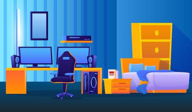 Szczegółowa ilustracja pokoju dla graczy