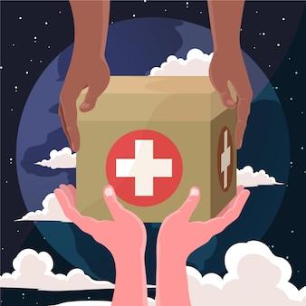 Szczegółowa ilustracja światowego dnia humanitarnego