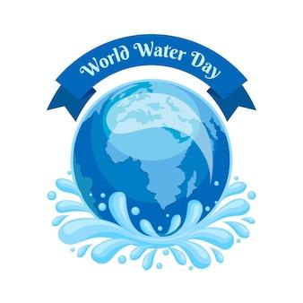 Szczegółowa ilustracja światowego dnia wody z planetą ziemią