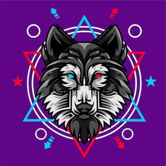 Szczegółowa ilustracja wektorowa głowa wilka