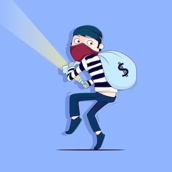 Szczegółowa ilustracja wektorowa przestępczej działalności złodzieja