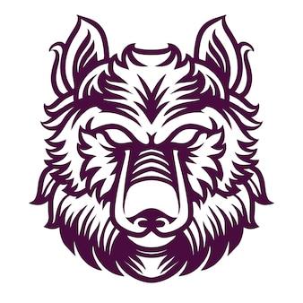 Szczegółowa ilustracja wilka na projekt koszuli