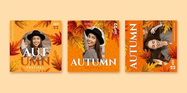 Szczegółowa kolekcja jesiennych postów na instagramie ze zdjęciem