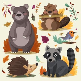 Szczegółowa kolekcja jesiennych zwierząt