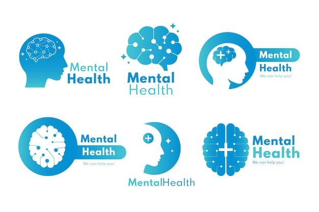 Szczegółowa kolekcja logo zdrowia psychicznego
