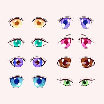 Szczegółowa kolekcja oczu anime