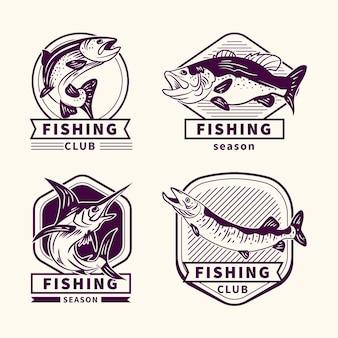Szczegółowa kolekcja odznak wędkarskich vintage
