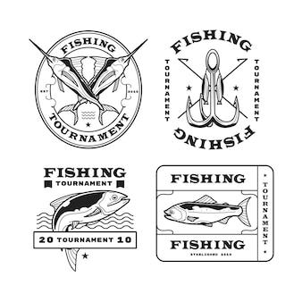 Szczegółowa kolekcja odznak wędkarskich w stylu vintage