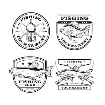 Szczegółowa Kolekcja Odznak Wędkarskich W Stylu Vintage Darmowych Wektorów