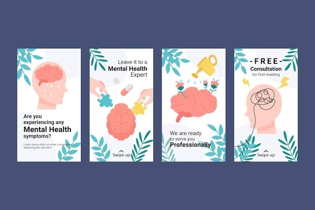 Szczegółowa kolekcja opowiadań o zdrowiu psychicznym na instagramie