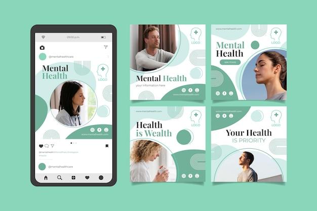 Szczegółowa kolekcja postów na temat zdrowia psychicznego na instagramie