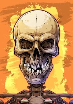 Szczegółowa kolorowa ludzka czaszka z łamanymi zębami