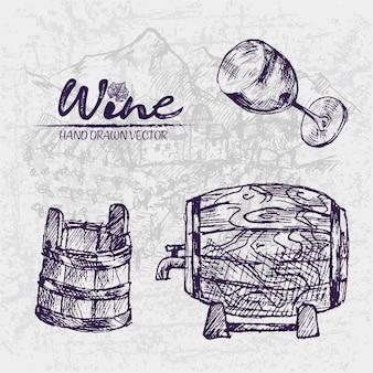 Szczegółowa kreskowa ręka rysująca beczkuje wino ilustrację