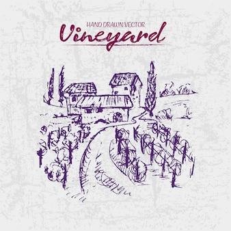 Szczegółowa kreskowa ręka rysująca purpurowa winnica ilustracja