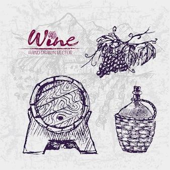 Szczegółowa kreskowa ręka rysująca purpurowa wino baryłki ilustracja