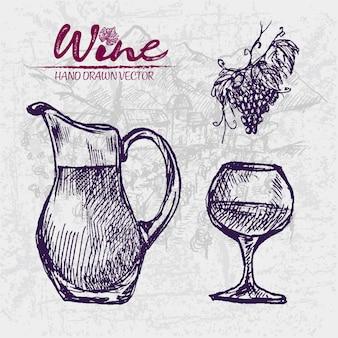 Szczegółowa kreskowa sztuka wręcza patroszoną purpurową wino słoju ilustrację