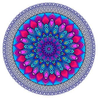 Szczegółowa mandala ozdobna w kolorze fioletowym i niebieskim. ornament etniczny.
