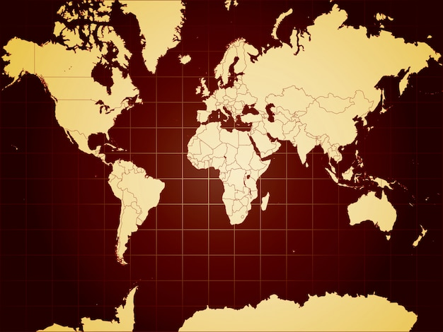 Szczegółowa mapa świata w pełni edytowalne ilustracji