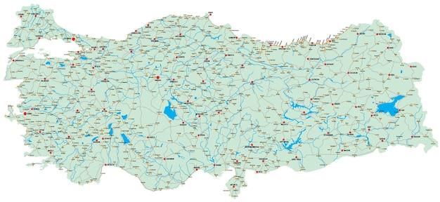 Szczegółowa mapa wektorowa turcji z głównymi miastami