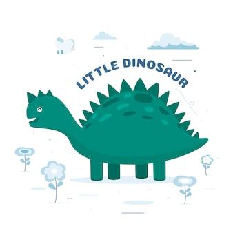 Szczegółowa płaska konstrukcja małego dinozaura