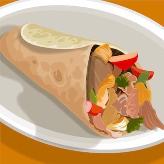 Szczegółowa pyszna ilustracja shawarma