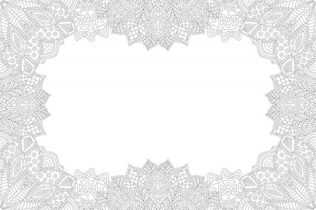 Szczegółowa ramka monochromatyczna do strony z kolorowankami
