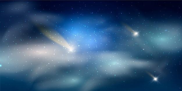 Szczegółowa realistyczna noc gwiaździste błękitne niebo. koncepcja kosmosu. wybuch galaktyki. gwiazdy w kosmosie streszczenie. noc świeci gwiaździste niebo. gratulacje lub zaproszenie.
