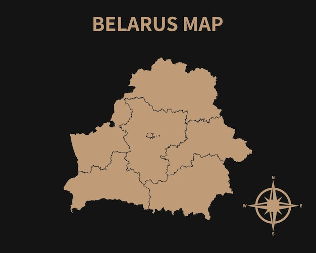Szczegółowa stara mapa białorusi z kompasem i obramowaniem regionu na ciemnym tle