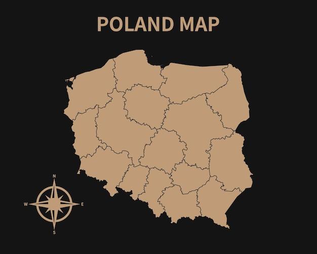 Szczegółowa stara mapa polski z kompasem i obramowaniem regionu na ciemnym tle