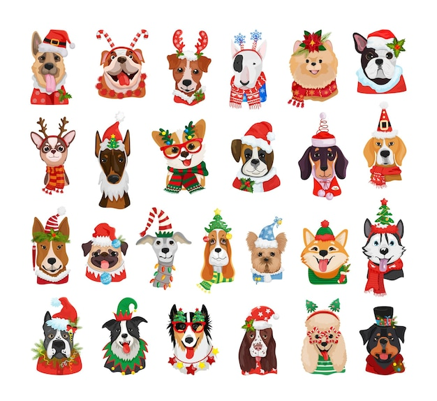 Szczegółowe awatary psów różnych ras w strojach świątecznych.