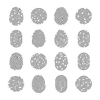 Szczegółowe ikony odcisków palców. symbole wektor skaner kciuka policji. piktogramy identyfikatora bezpieczeństwa osoby tożsamości. identyfikacja palca, technologia biometryczna