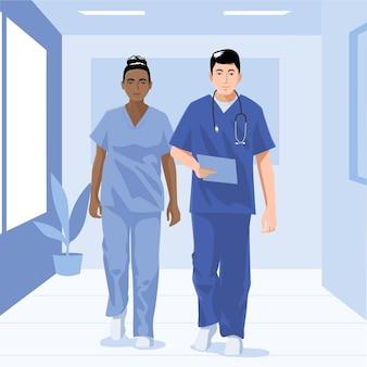 Szczegółowe ilustracje lekarzy i pielęgniarek